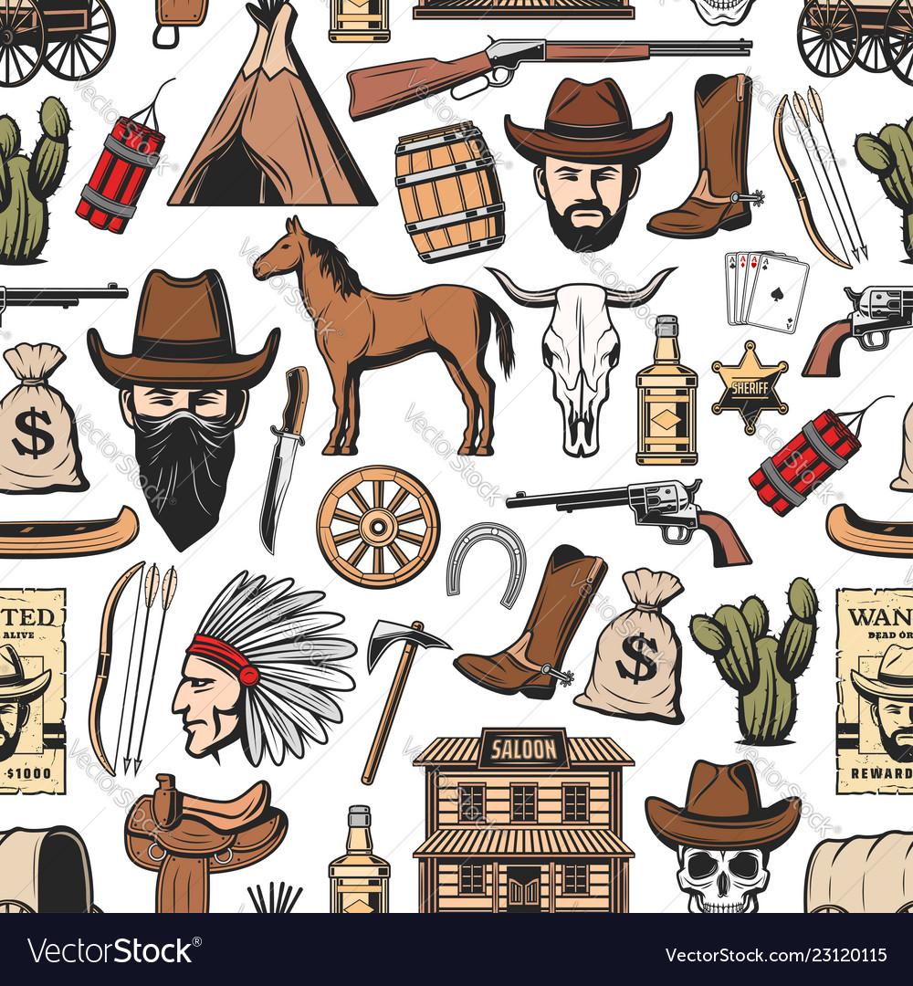 Wild west cowboy sheriff indian western pattern