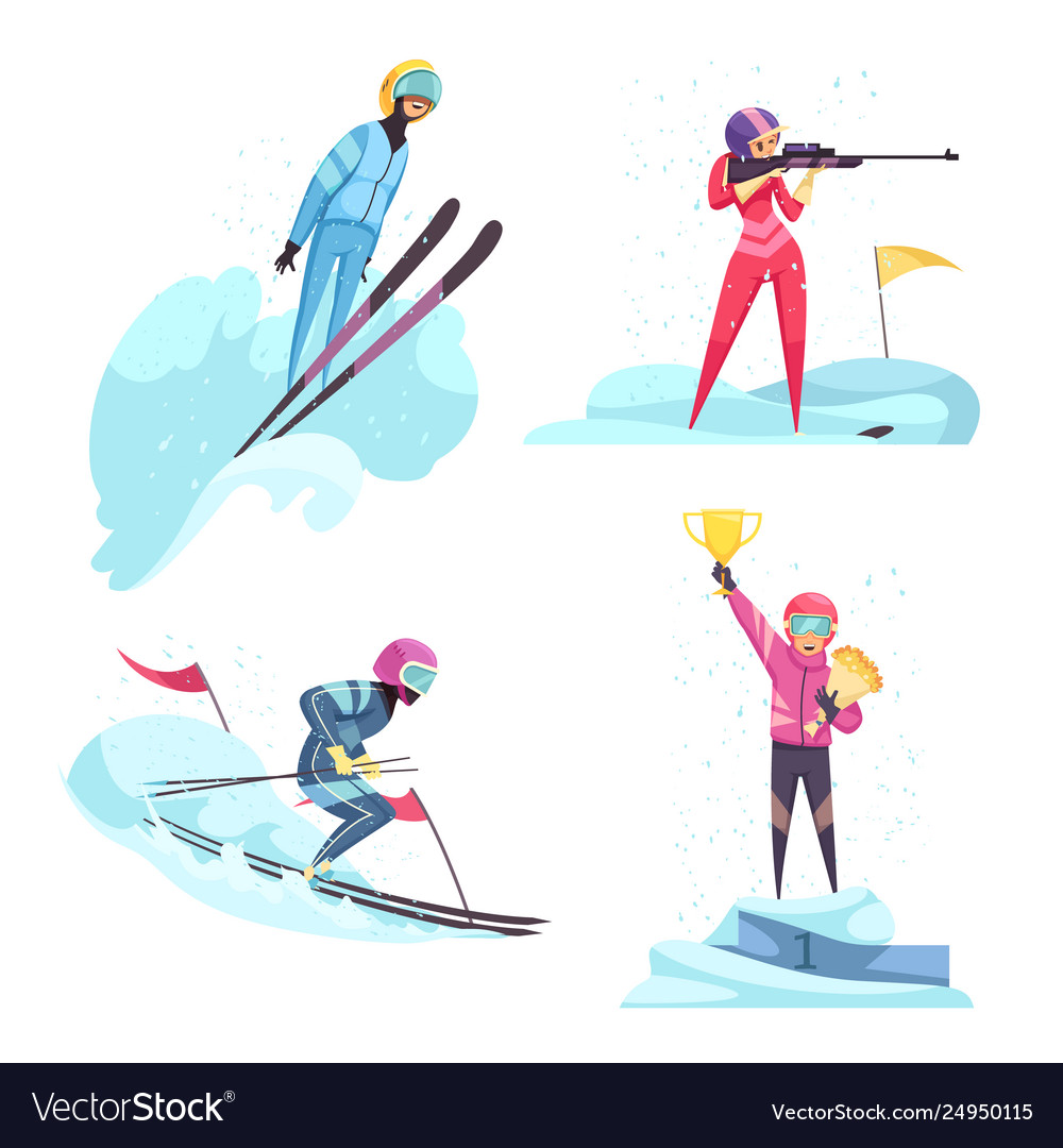 Winter sports concept icons set