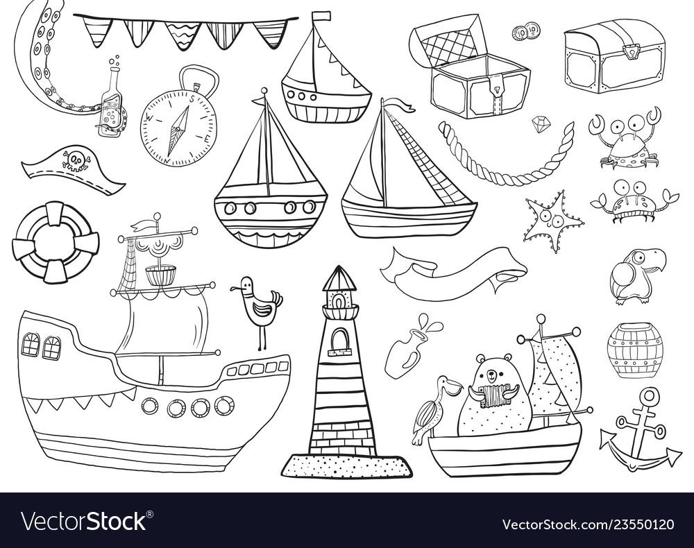 Childrens coloring sea pirate set