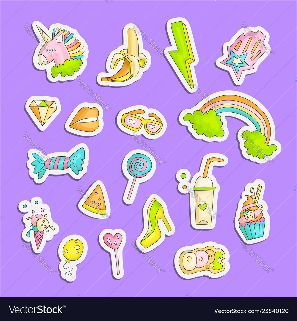 Cute funny girl teenager colored stickers set