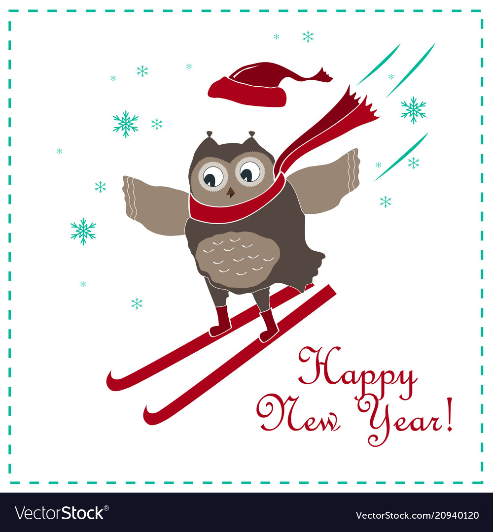 Funny and cute skiing owl new year card Royalty Free Vector