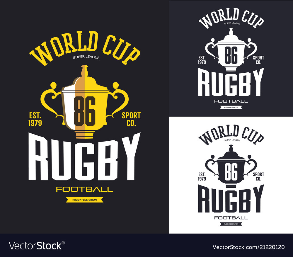 Golden rugby trophy for world cup banner