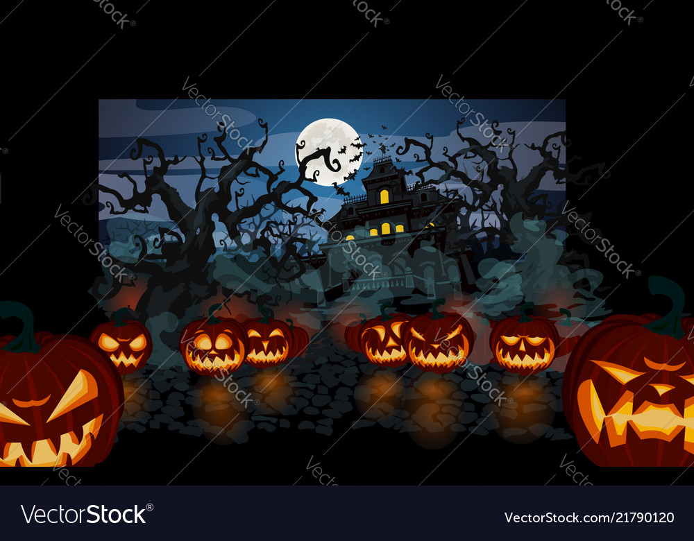 halloween theme with lit pumpkins royalty free vector image
