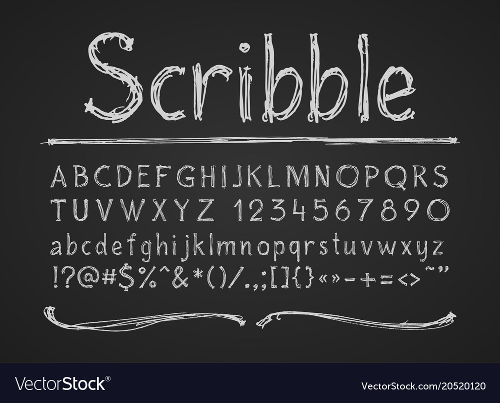 Hand drawn chalk letters numbers and symbols