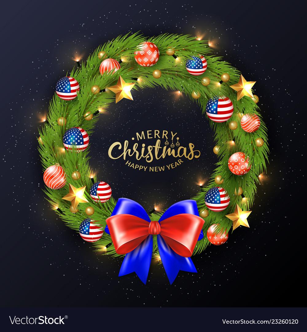 Merry christmas 2019 poster christmas wreath
