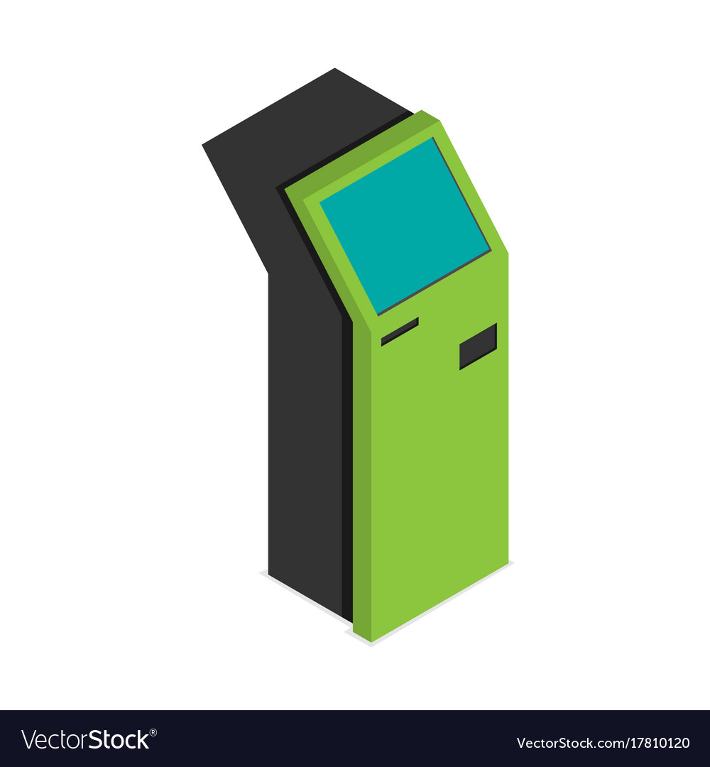 Payment terminal isometric flat isolated