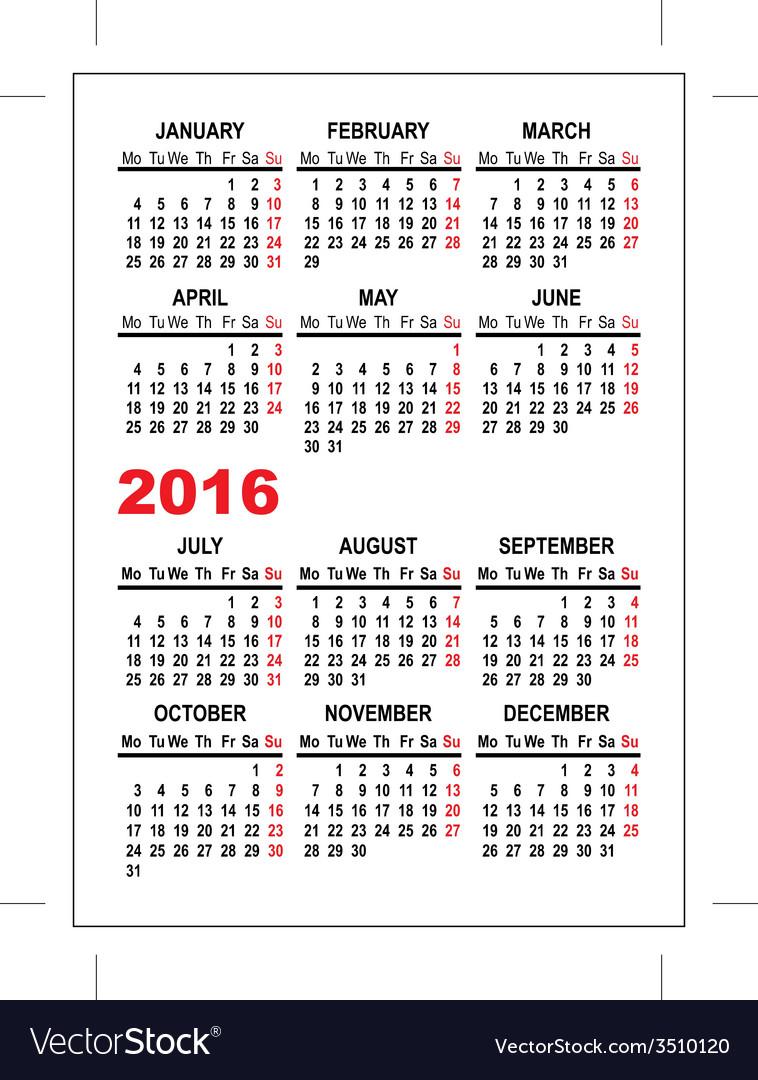 Calendar 2016 Template | Pocket Calendar 2016 Template Royalty Free Vector Image