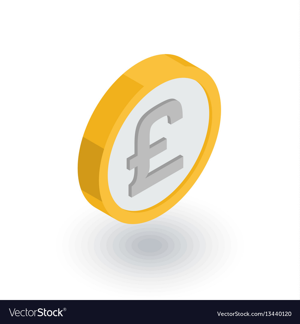 Pound sterling coin currency isometric flat icon vector image