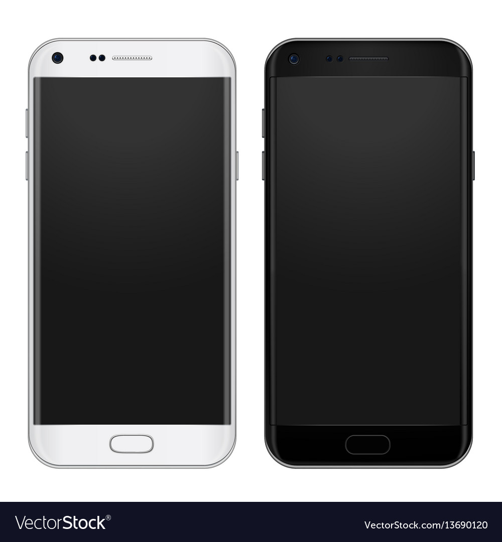 Set of black and white smart phone with empty