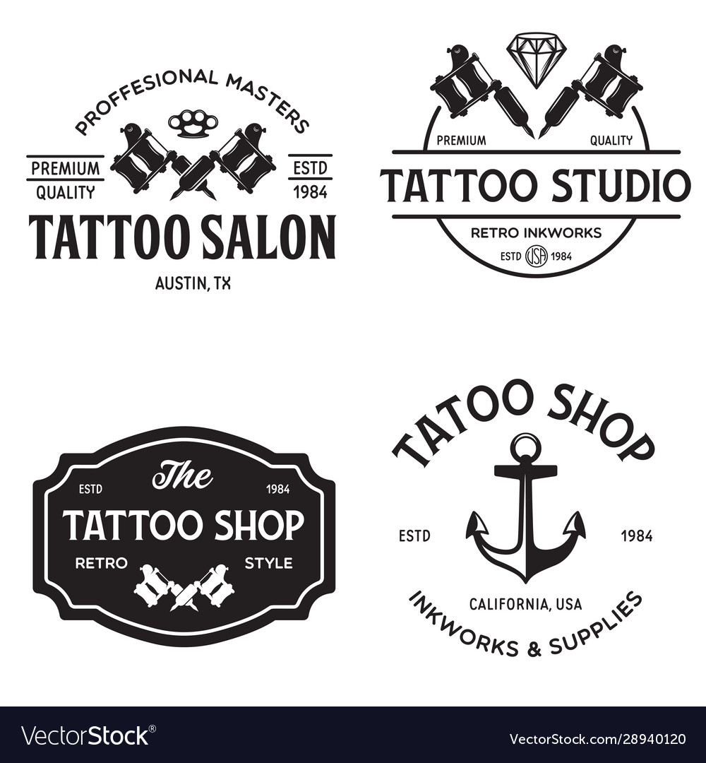Tattoo studio logo templates on white
