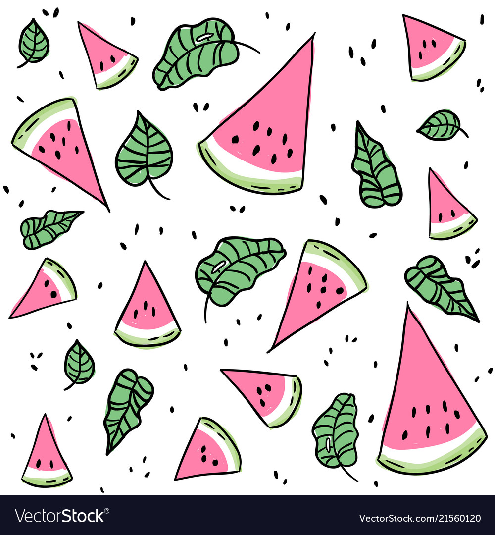 Watermelon slices and leaves seamless pattern