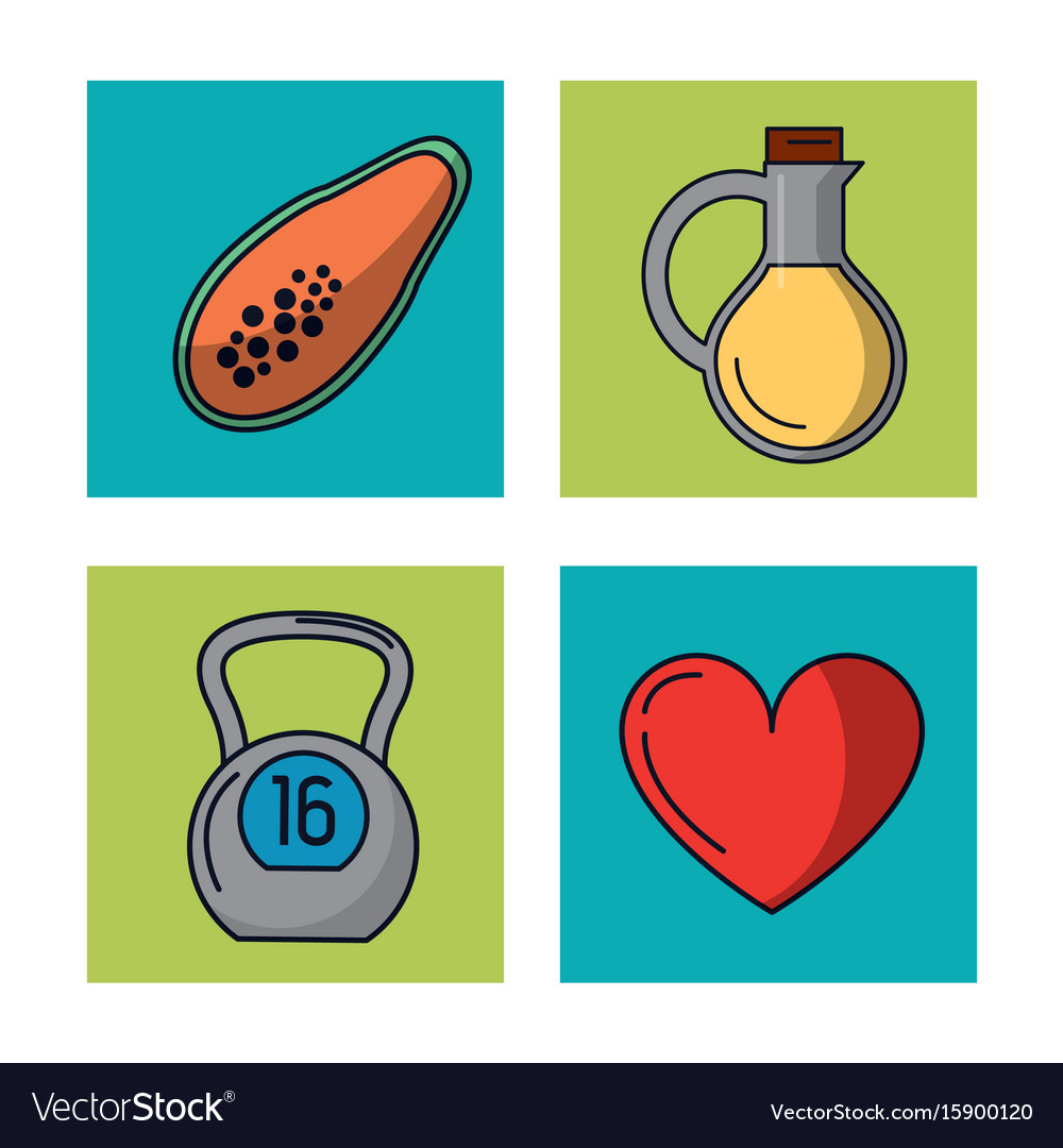 White background with frames of healthy lifestyle