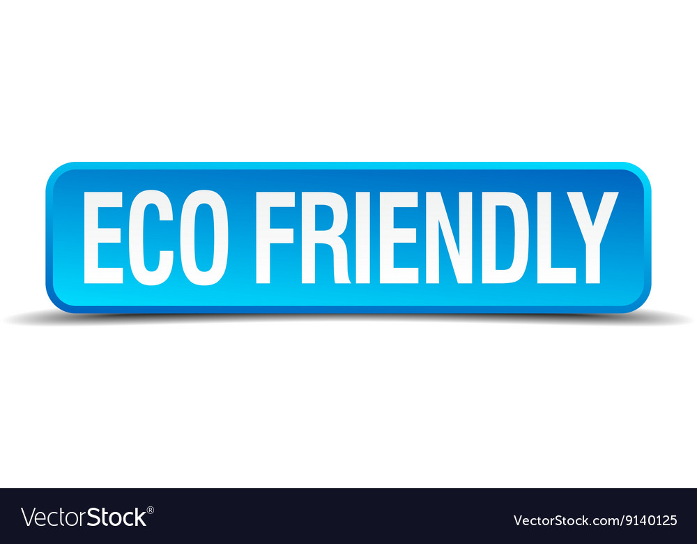 Eco friendly blue 3d realistic square isolated