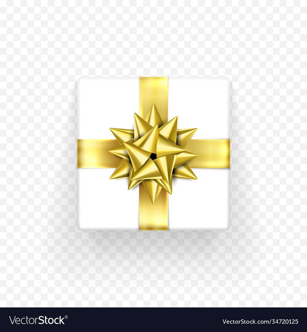 Gift box golden bow ribbon design birthday new