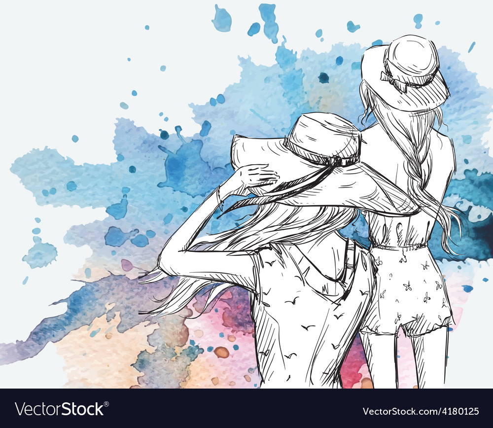 Girls in hats on watercolor background vector image
