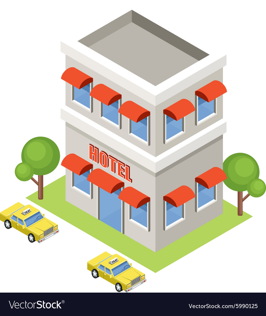 Isometric hotel on a white background