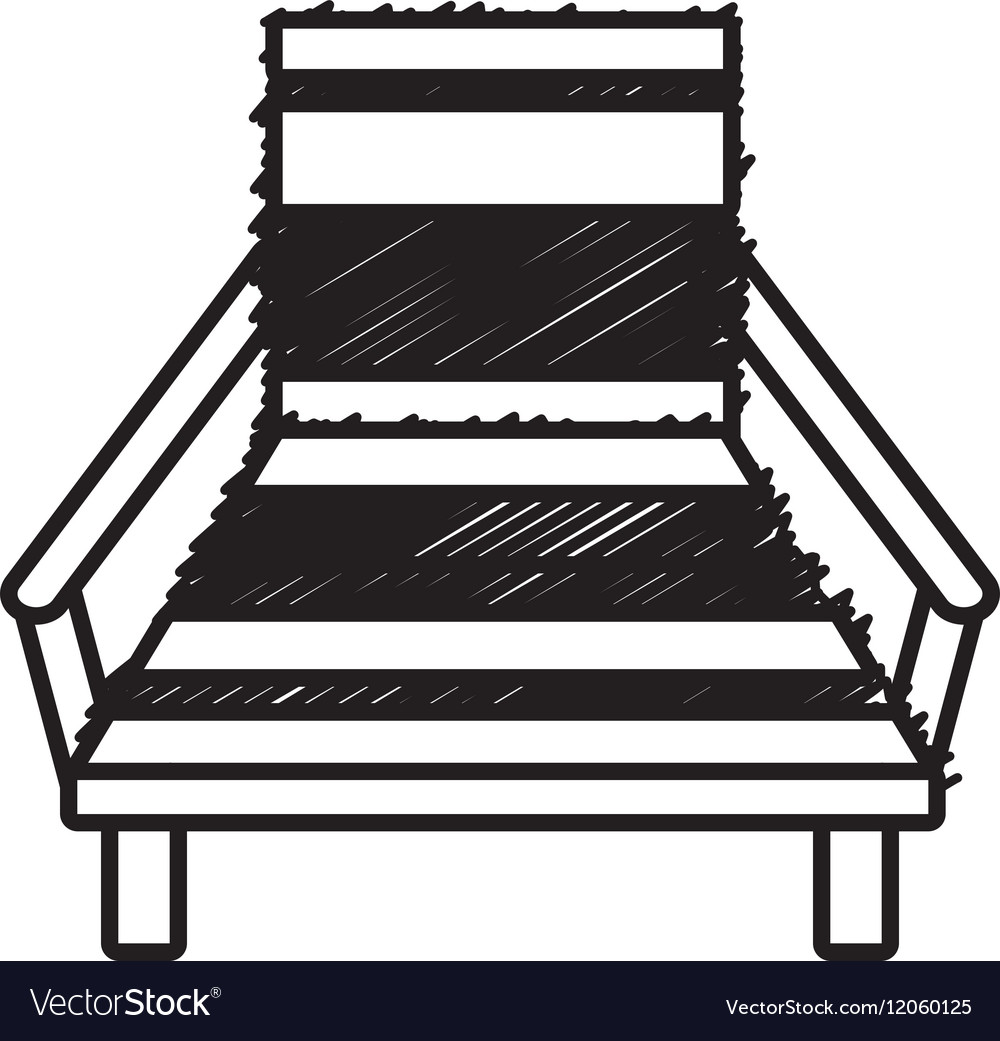 Outline chair beach relax wooden vector image