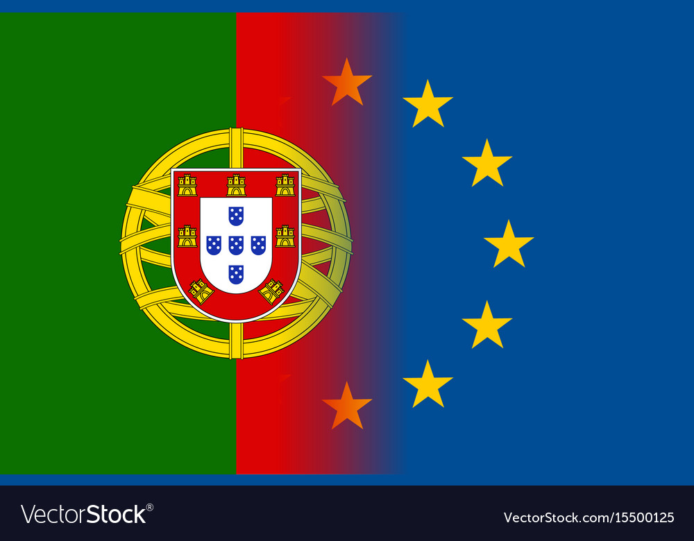 Portugal National Flag With A Star Circle Of Eu Vector Image