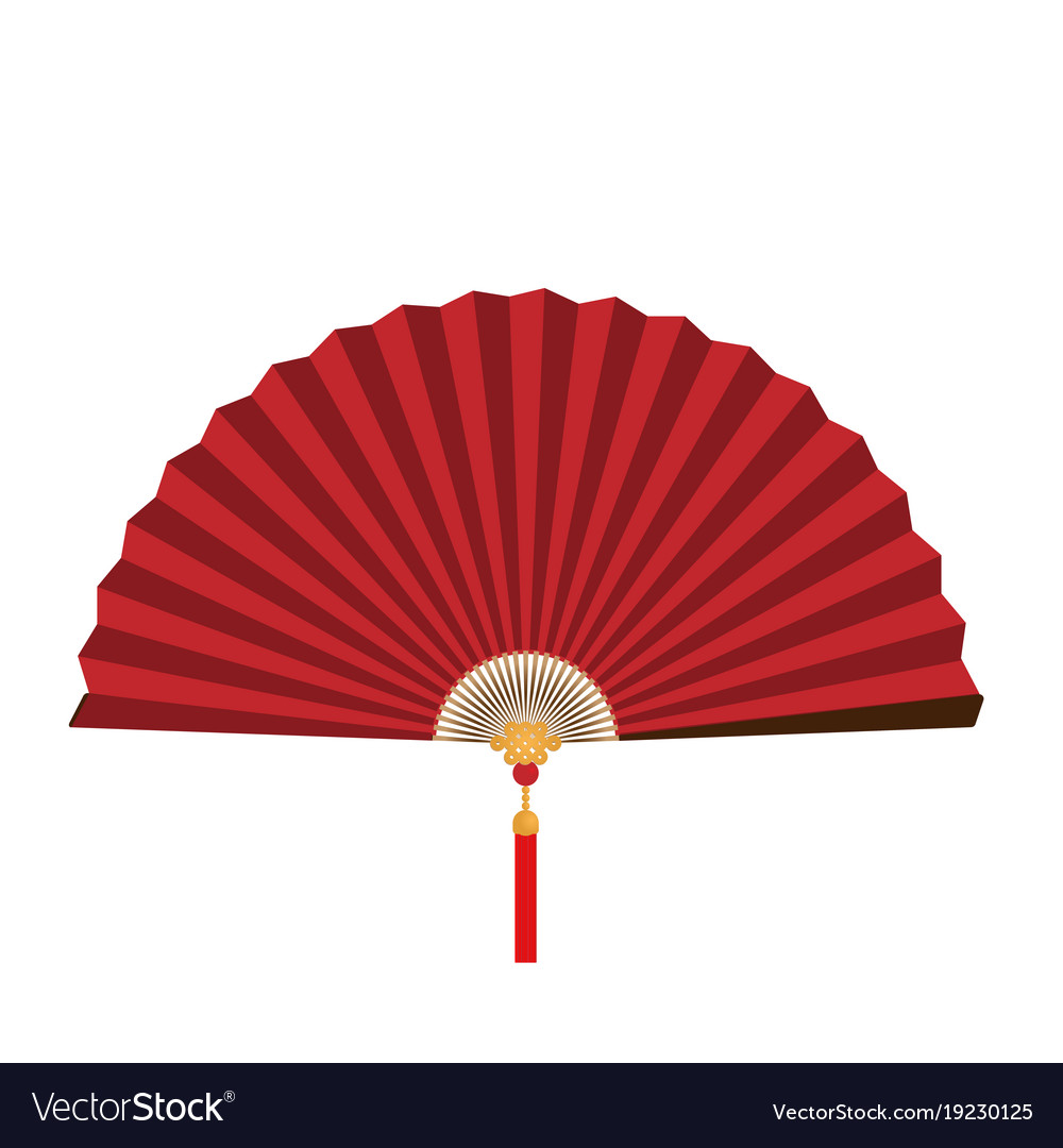 Red chinese folding fan vector image
