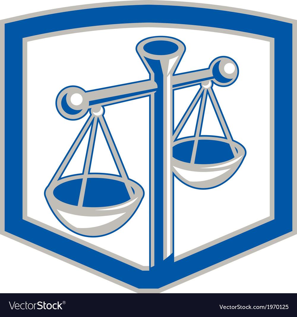 Scales of Justice Shield Retro vector image