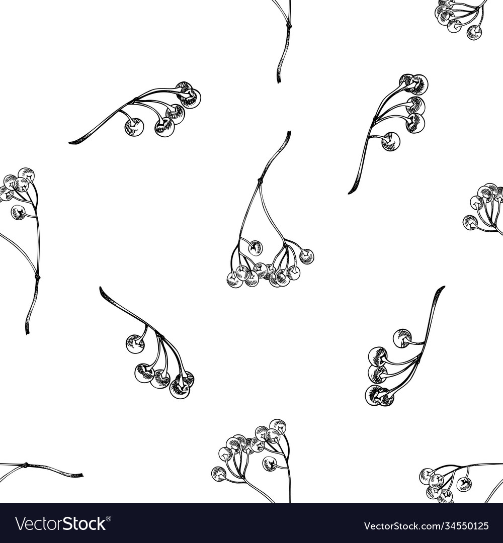 Seamless pattern with black and white ardisia