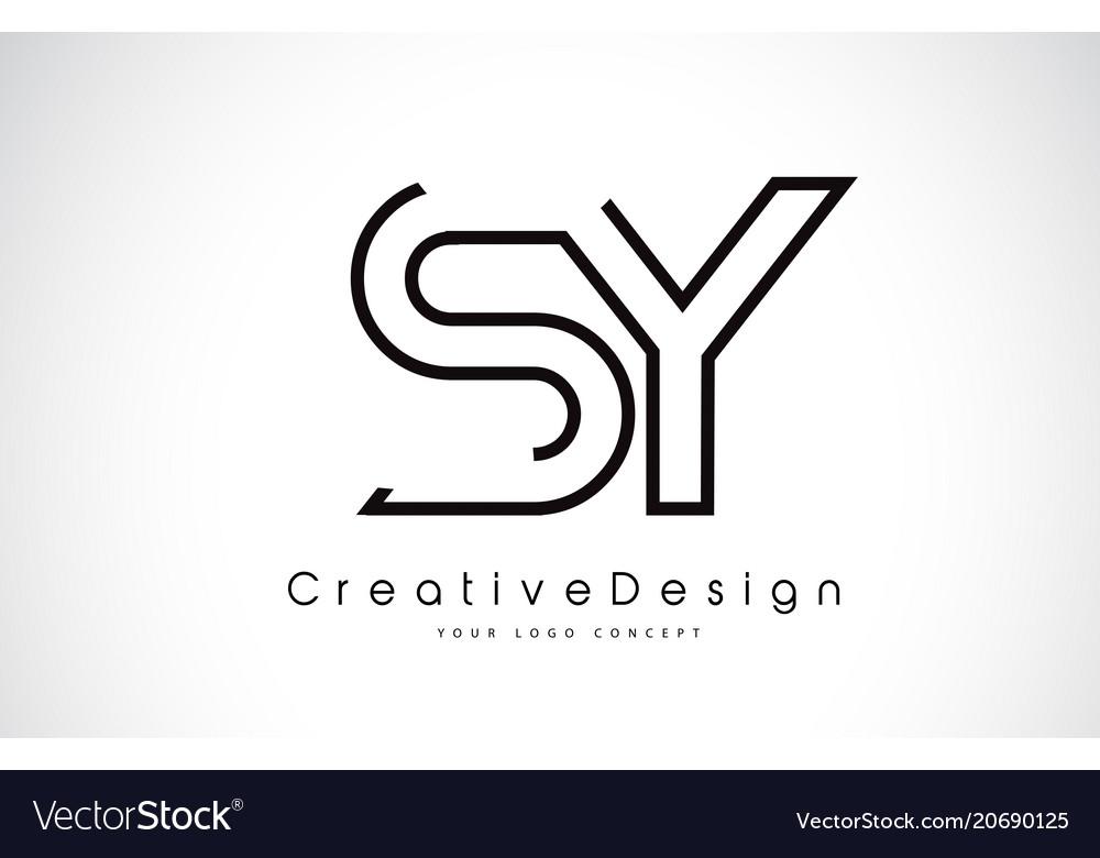 Sy S Y Letter Logo Design In Black Colors Vector Image