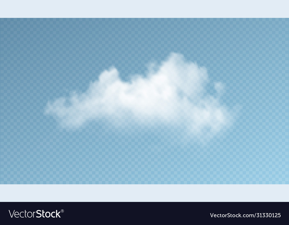 Transparent clouds isolated on blue background