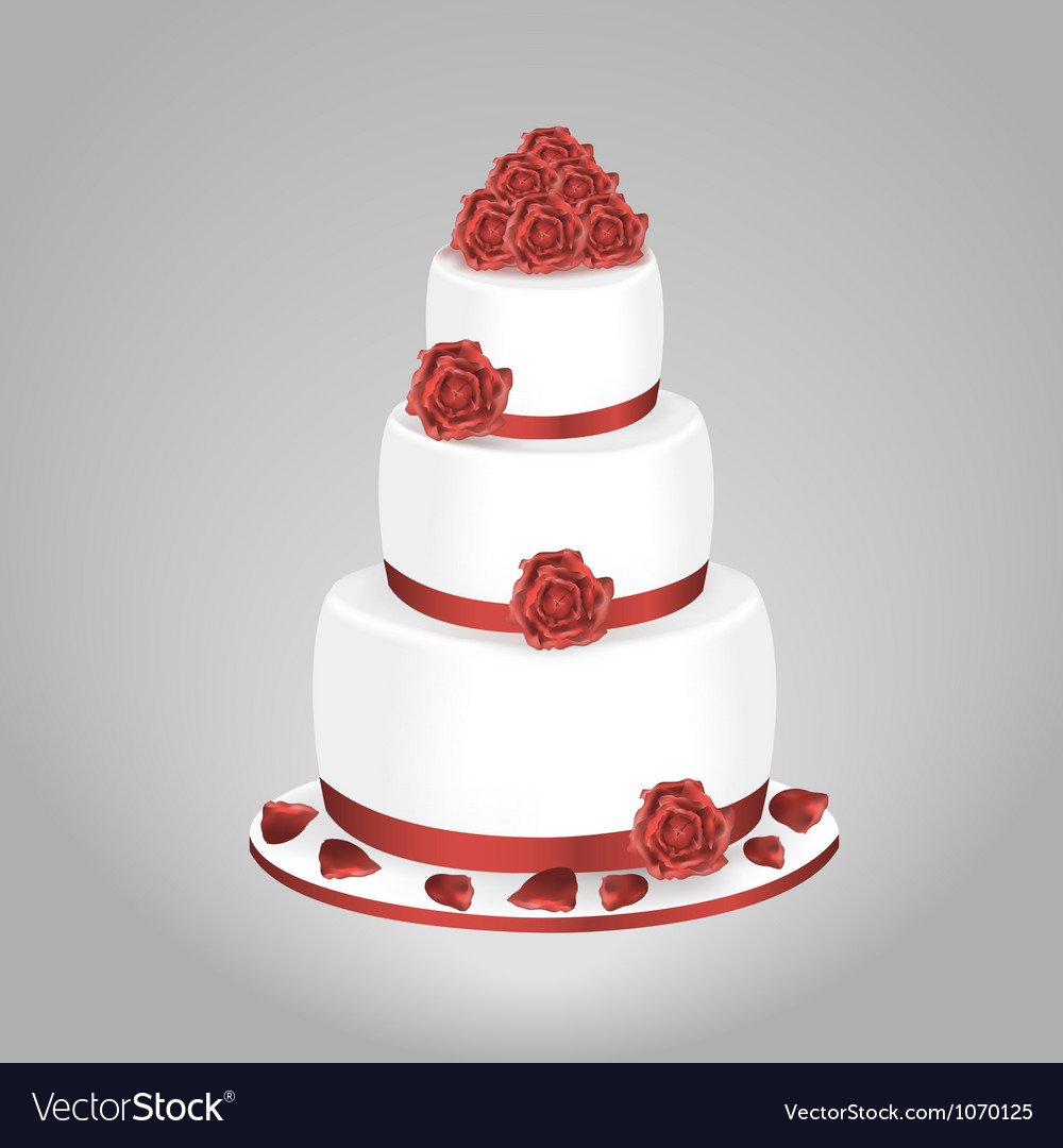 Wedding Cake With Red Roses Royalty Free Vector Image