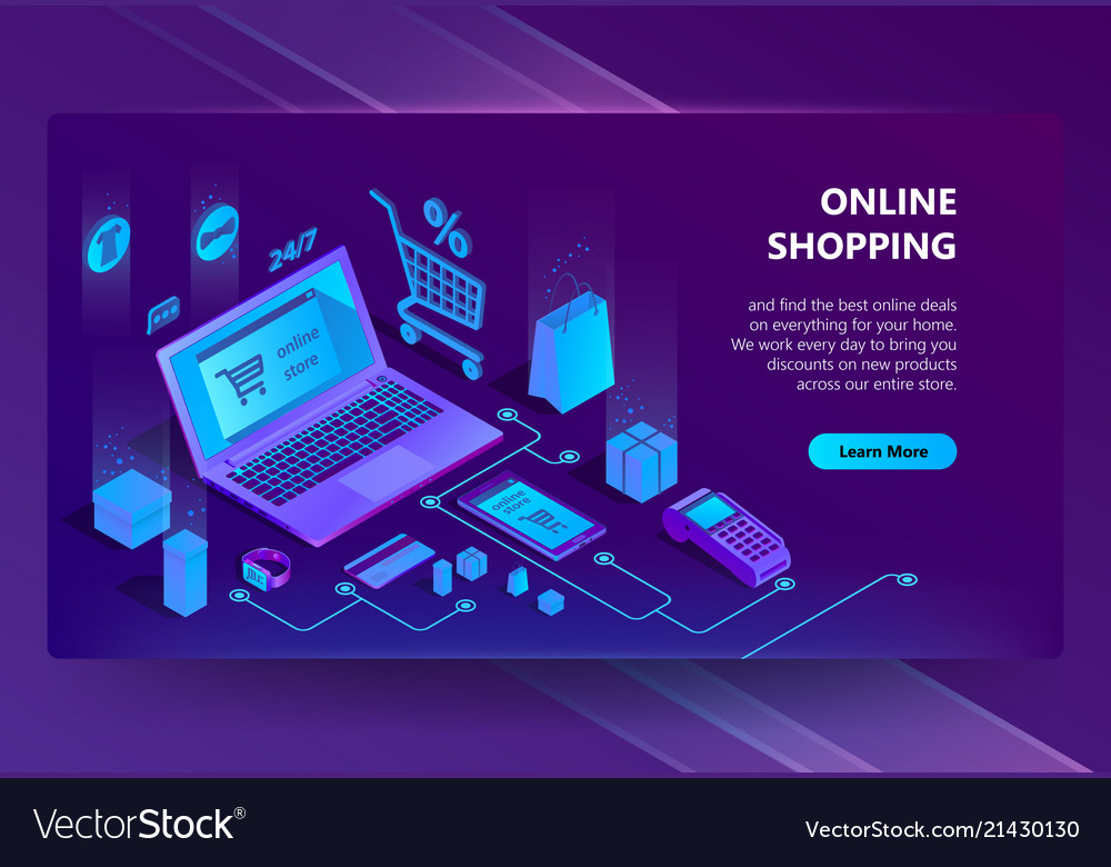 3d isometric e-commerce site online store