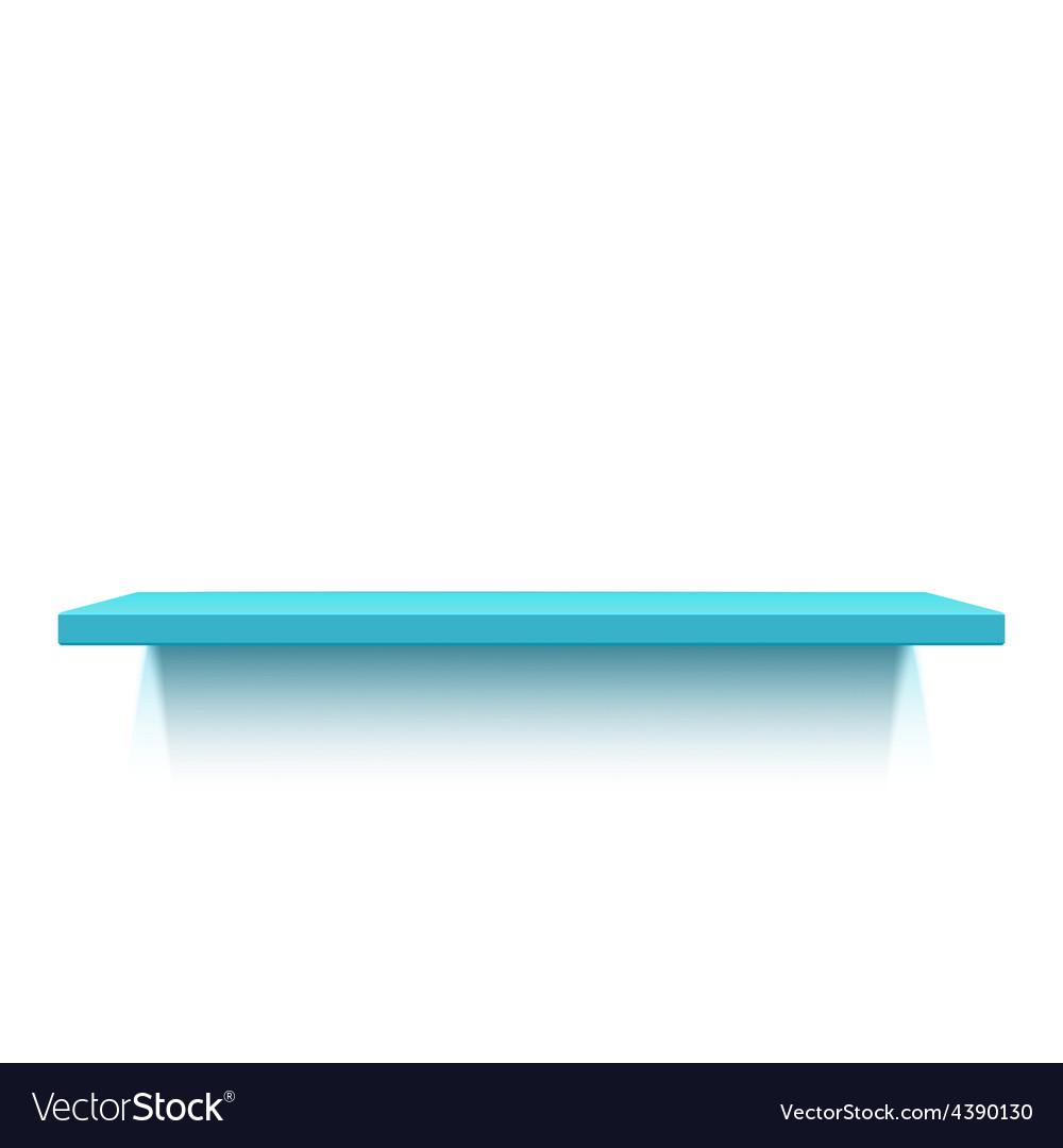 Blue realistic shelf isolated on white background