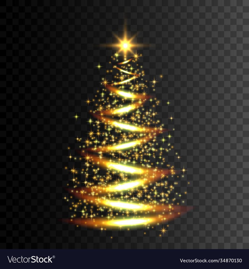Christmas tree gold glitter light effect