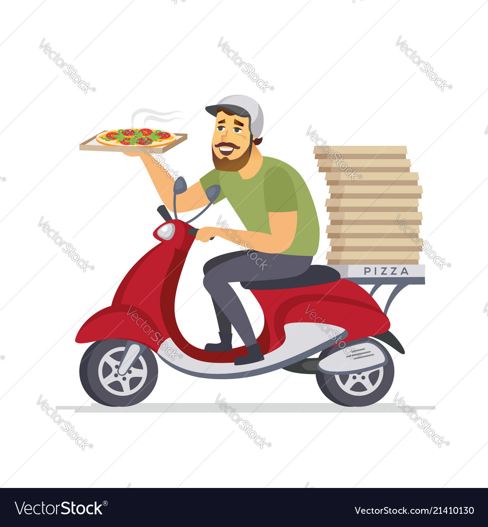 Delivery man - cartoon people characters isolated