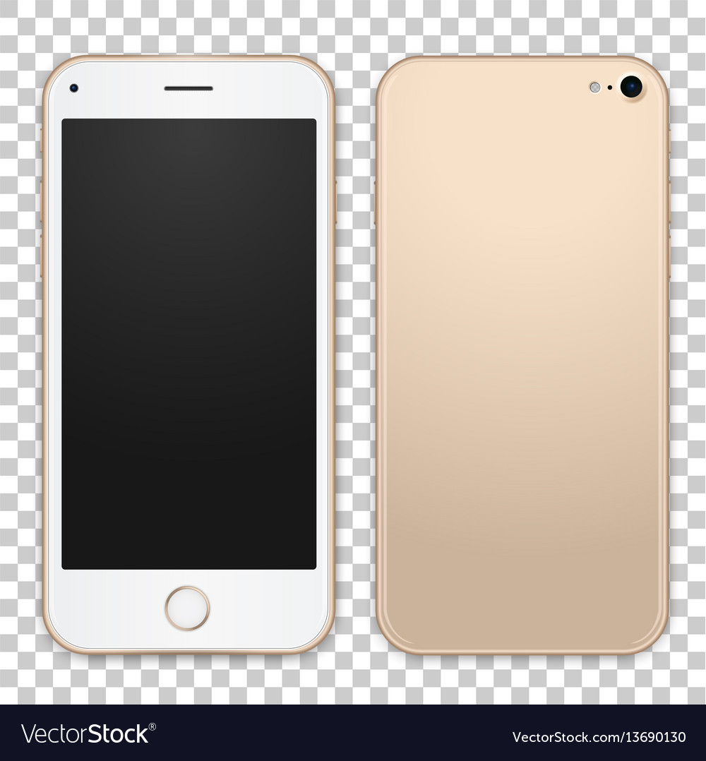 Gold mobile phone template with empty