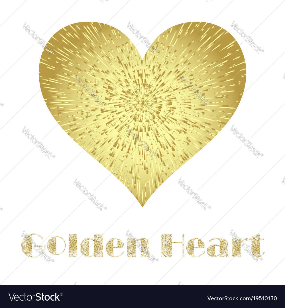 Golden metal heart isolated on white