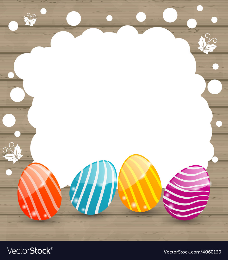 Holiday card with Easter colorful eggs on wooden