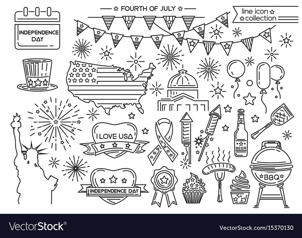 Line icon set for united stated independence day vector image