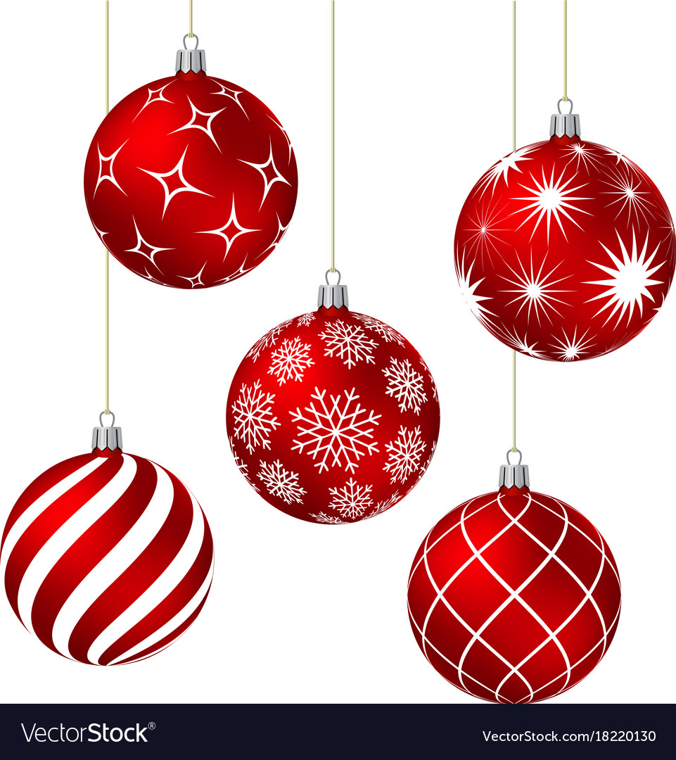 red christmas balls with different patterns vector image