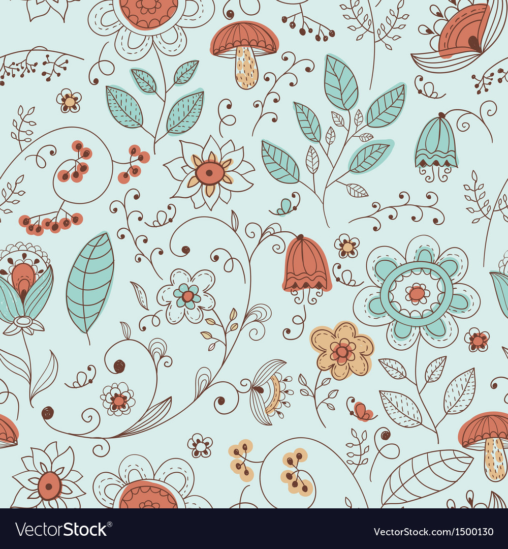 Seamless summer doodle style floral pattern
