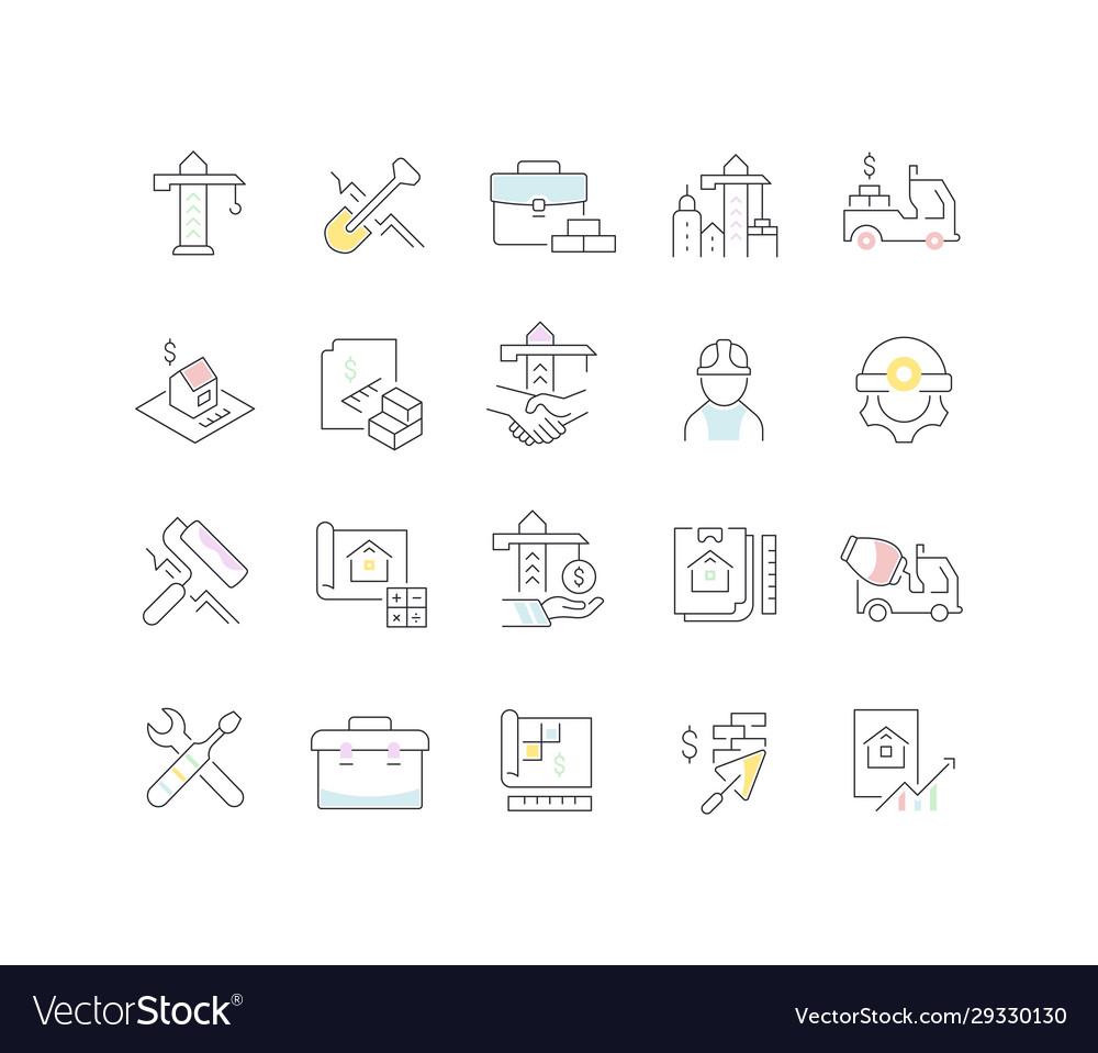 Set line icons construction business