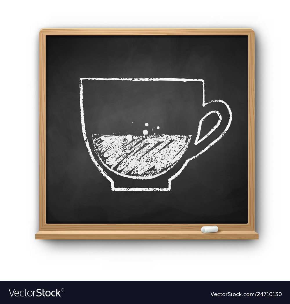 Square chalkboard with chalked coffee cup