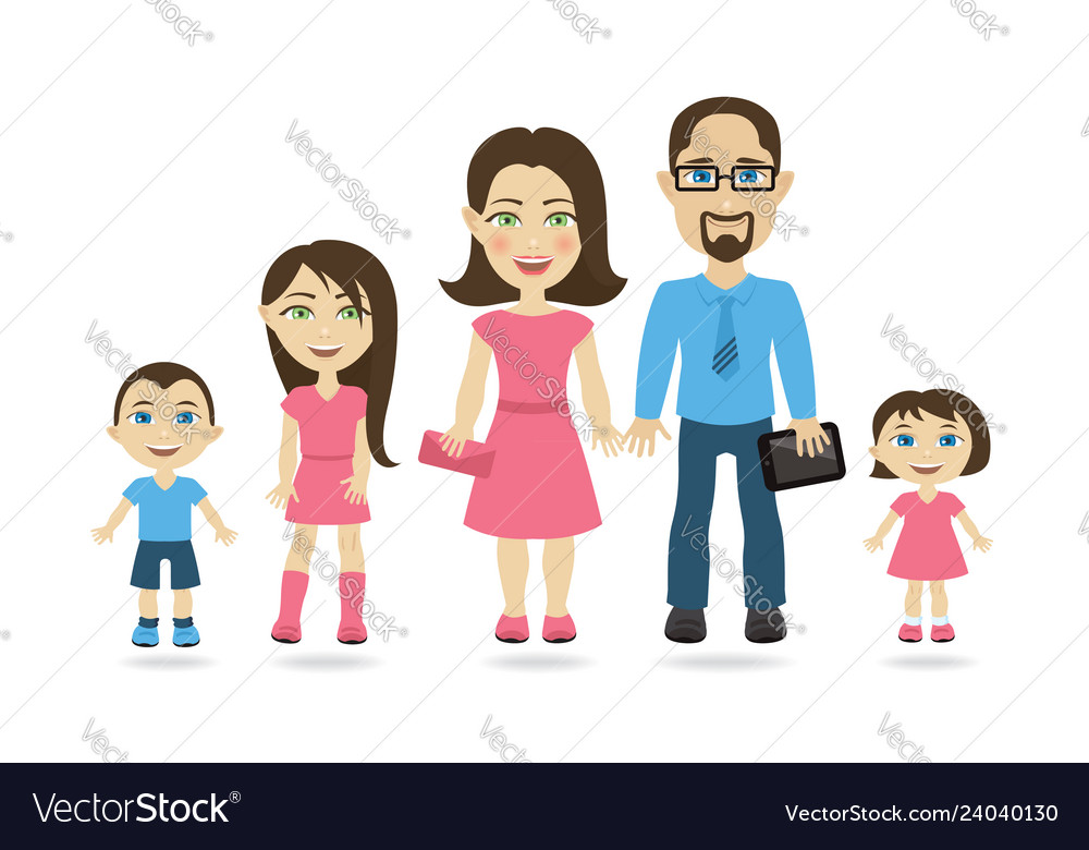 Traditional family with mom dad and three kids