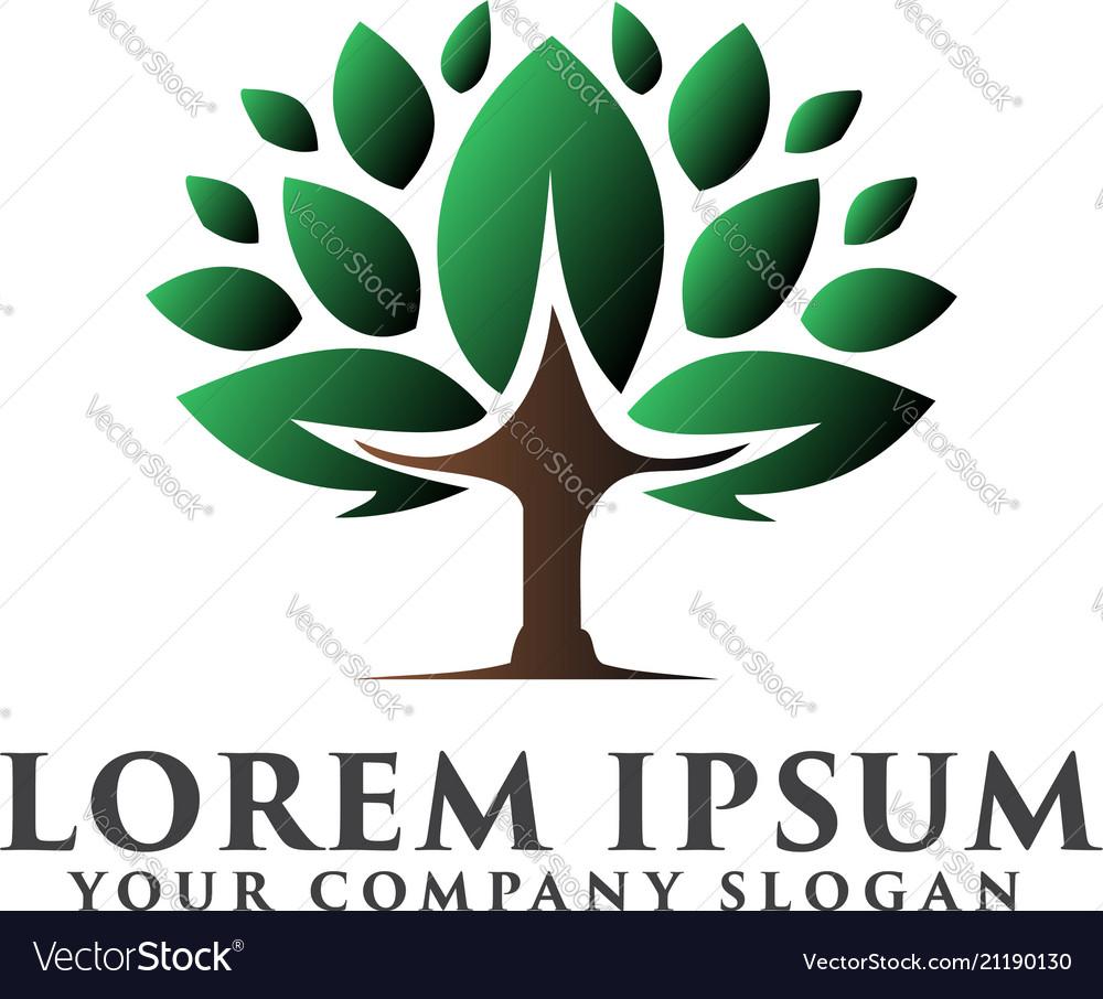 Tree logo design concept template