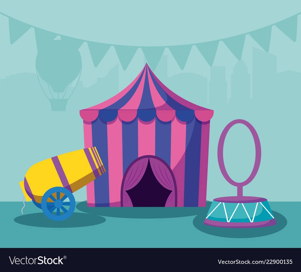 Circus tent with cannon and ring vector image & Circus tent with cannon and ring Royalty Free Vector Image