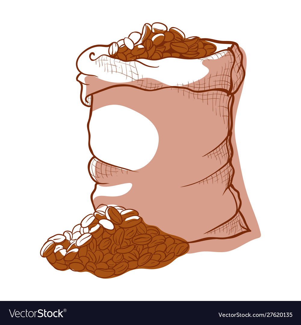 Coffee bag icon sack beans for beverage
