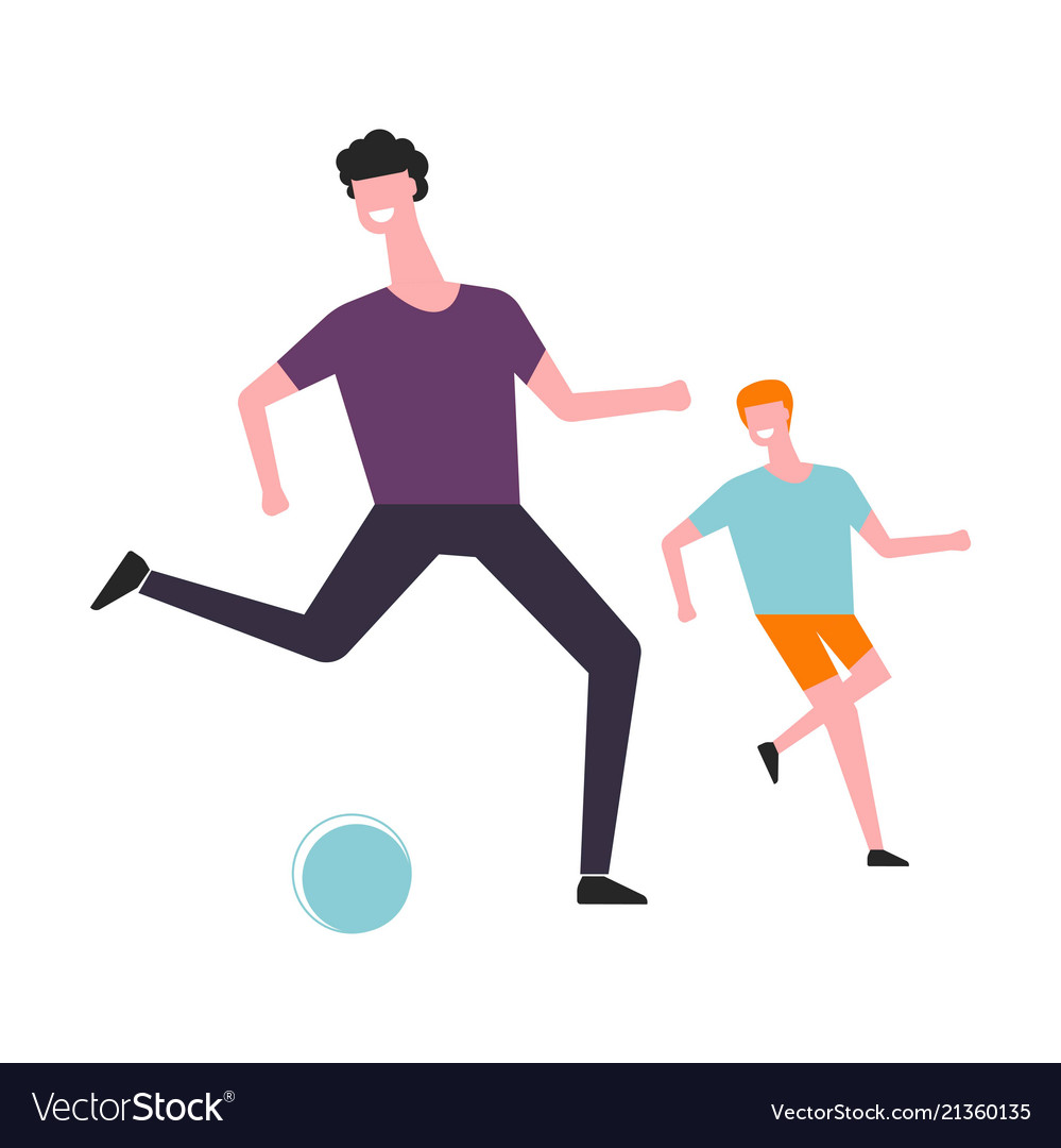 Father and son play football or soccer ball