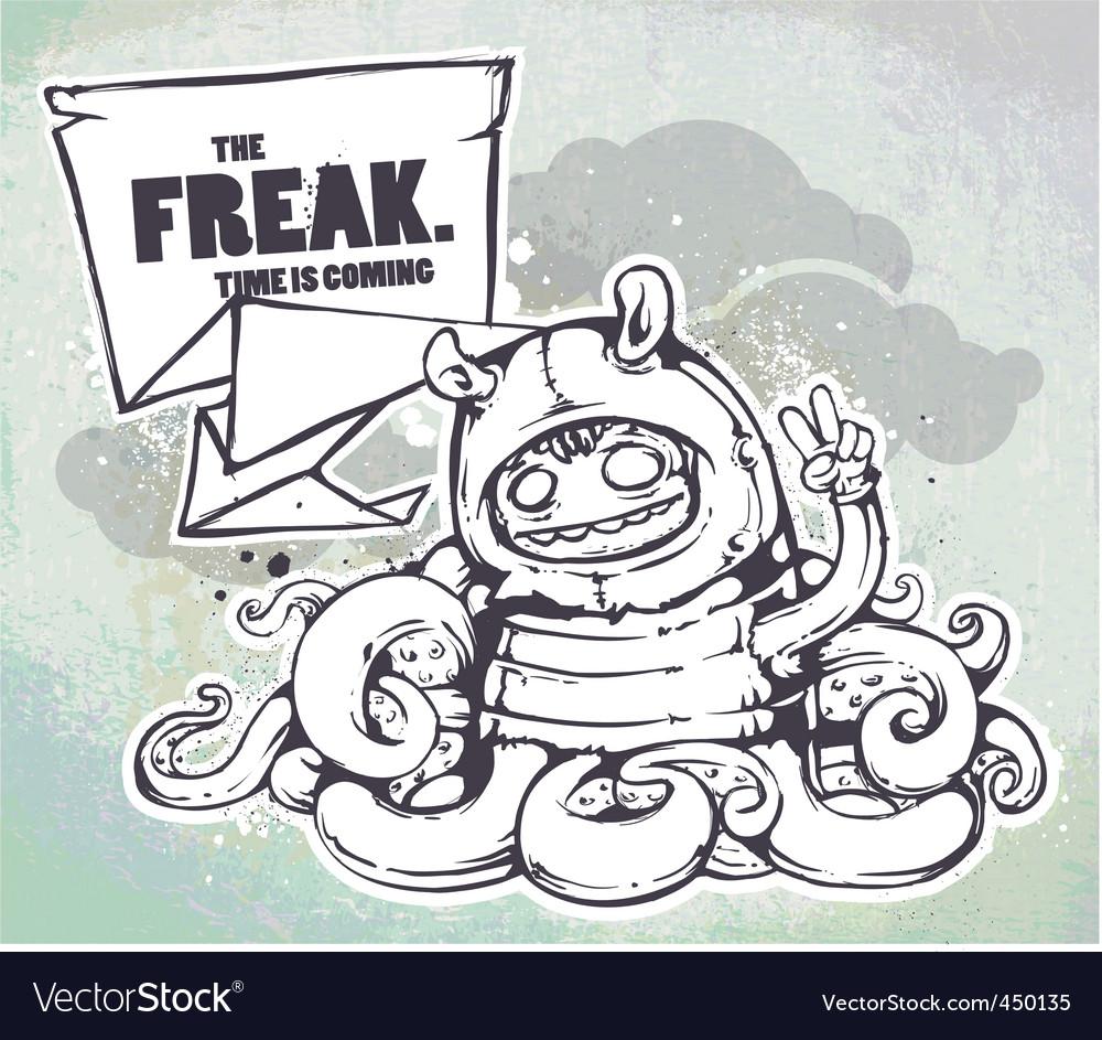Hand drawn freak vector image