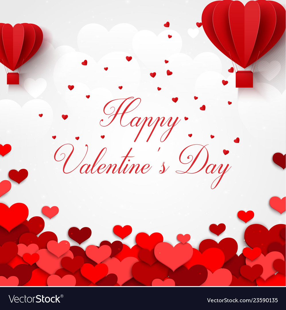 Happy valentines day greetings card with realistic