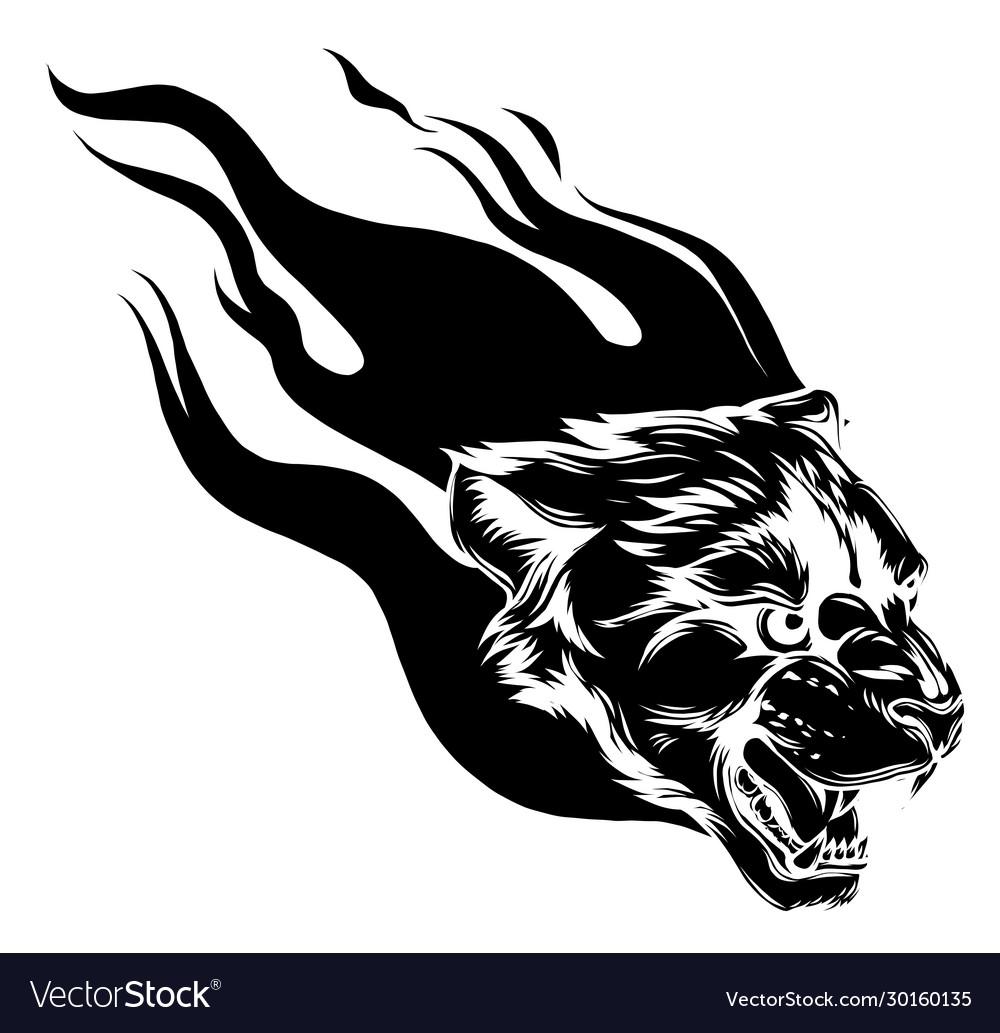 Jaguar head with flame tattoo
