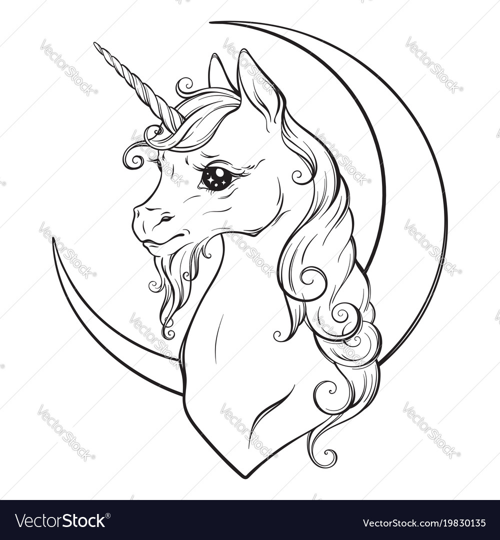 Little unicorn and crescent moon isolated