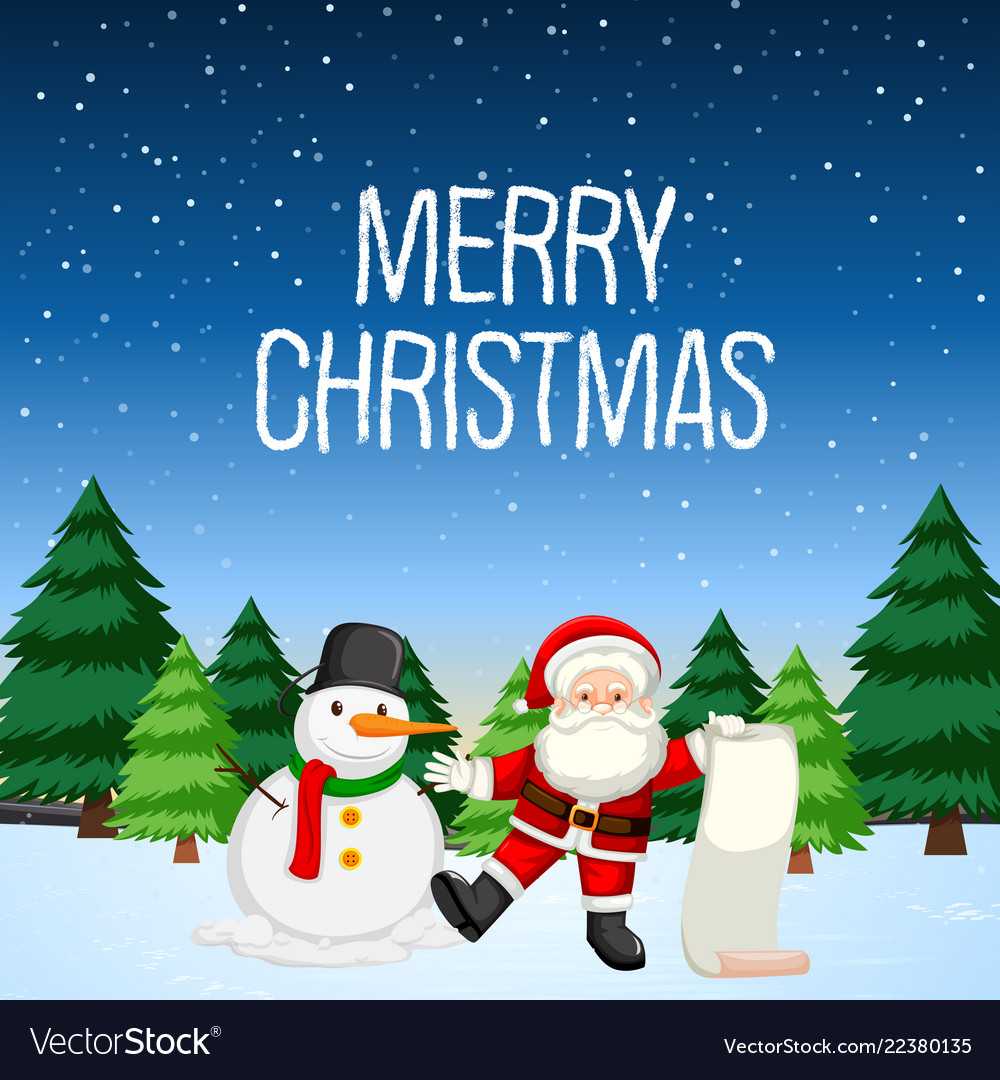 Merry Christmas Images Free.Merry Christmas With Santa And Snowman